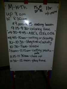 This is the basic daily schedule we follow for pre-school three days a week.