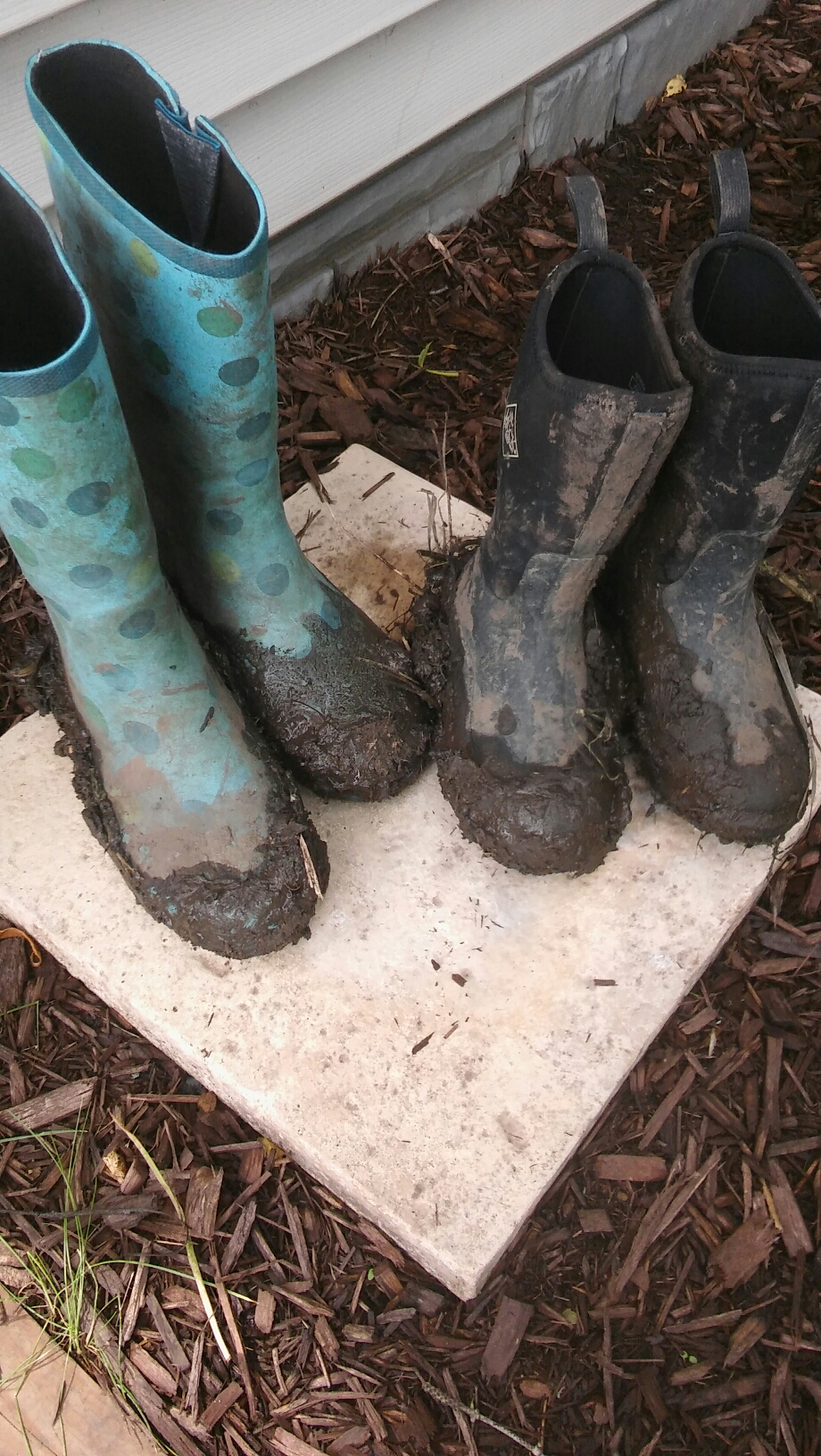 muddy boots from the field gleaning