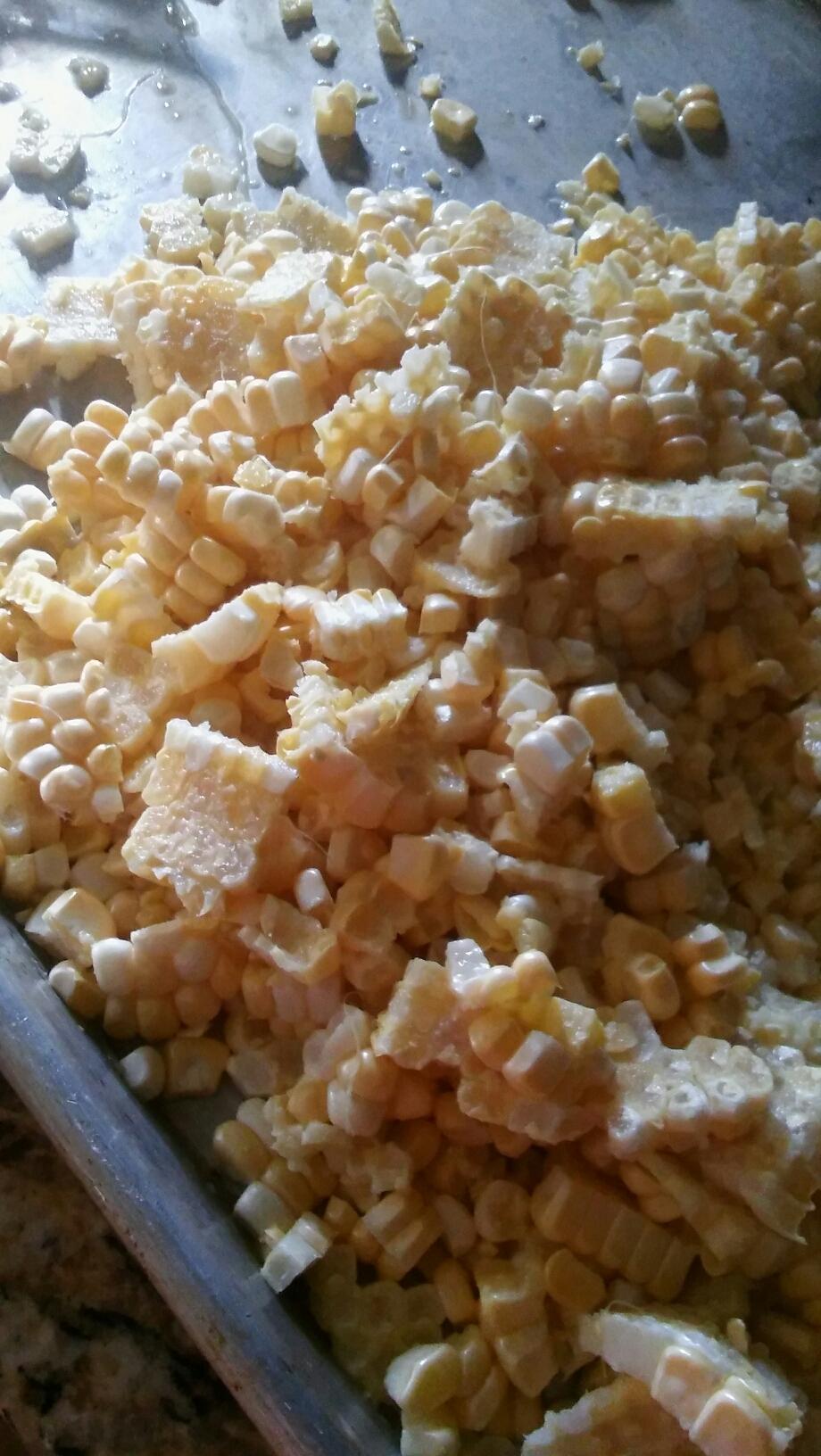 raw corn waiting to be frozen
